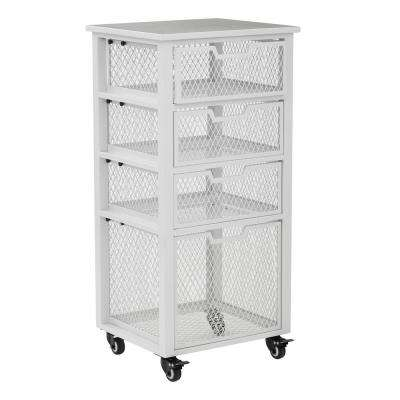 Clayton White Metal Frame 4-Drawer Rolling Cart
