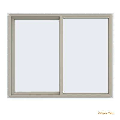 59.5 in. x 47.5 in. V-4500 Series Desert Sand Painted Vinyl Left-Handed Sliding Window with Fiberglass Mesh Screen