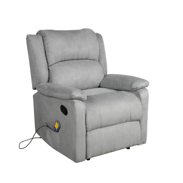 Grey Power Massage Reclining Chair with Heat and Massage Heated Vibrating Suede
