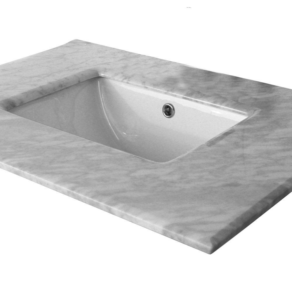 Algona 30.2 in. W x 21.8 in. D Marble Single Basin Vanity Top in White with White Basin