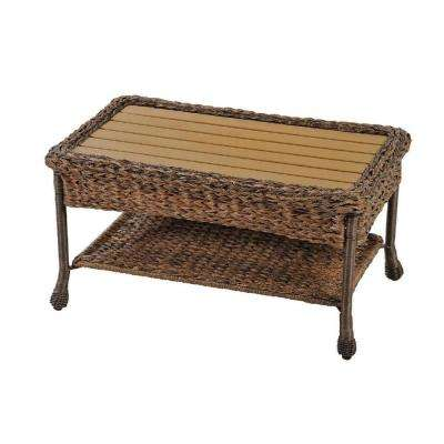 Rustic Brown Aluminum Outdoor Faux Sea Grass Garden Patio Coffee Table with Plastic Wood Top