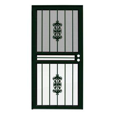 36 in. x 80 in. Rambling Rose Forest Green Recessed Mount All Season Security Door with Insect Screen and Glass Inserts