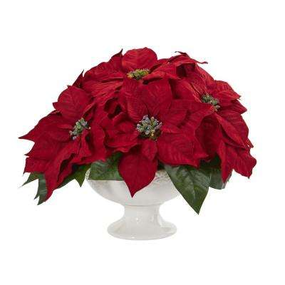 Indoor Poinsettia Artificial Arrangement in Urn