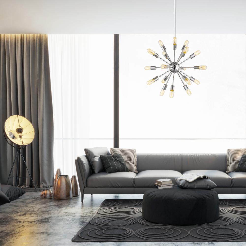 Decor Living Sputnik 18-Light Polished Nickel Chandelier