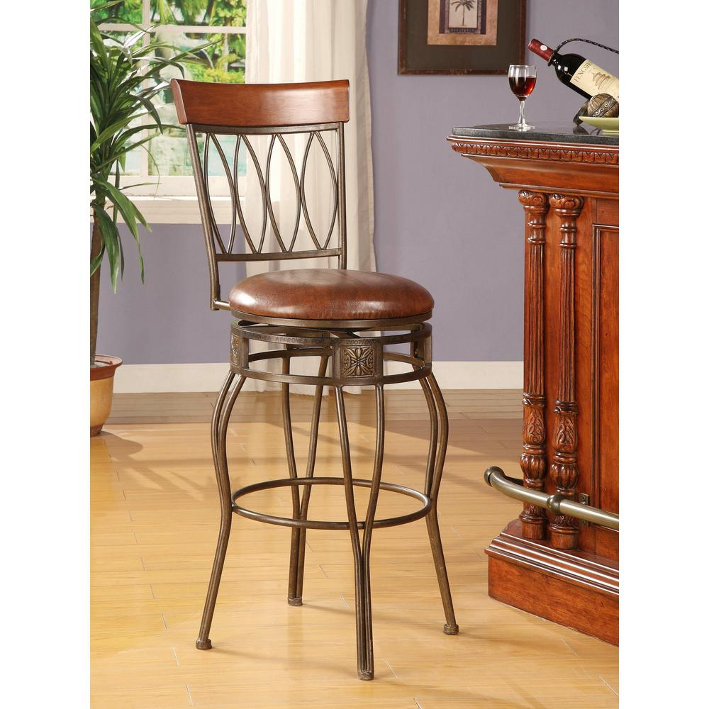 Oval Back 30 in. Matte Bronze Cushioned Bar Stool
