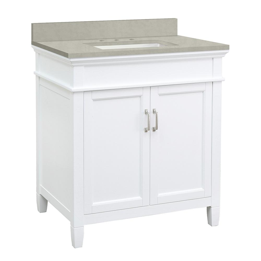 Home Decorators Collection Ashburn 31 in. W x 22 in. D Vanity Cabinet in White with Engineered Marble Vanity Top in Dunescape with White Sink was $699.0 now $489.3 (30.0% off)