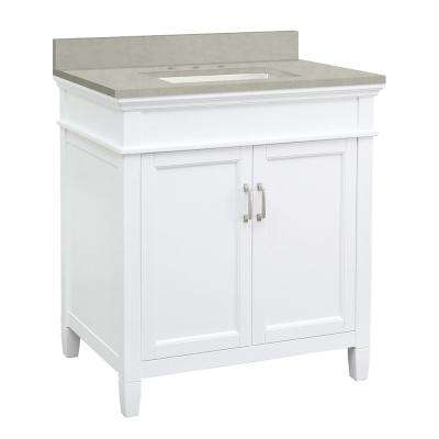 Ashburn 31 in. W x 22 in. D Vanity Cabinet in White with Engineered Marble Vanity Top in Dunescape with White Sink