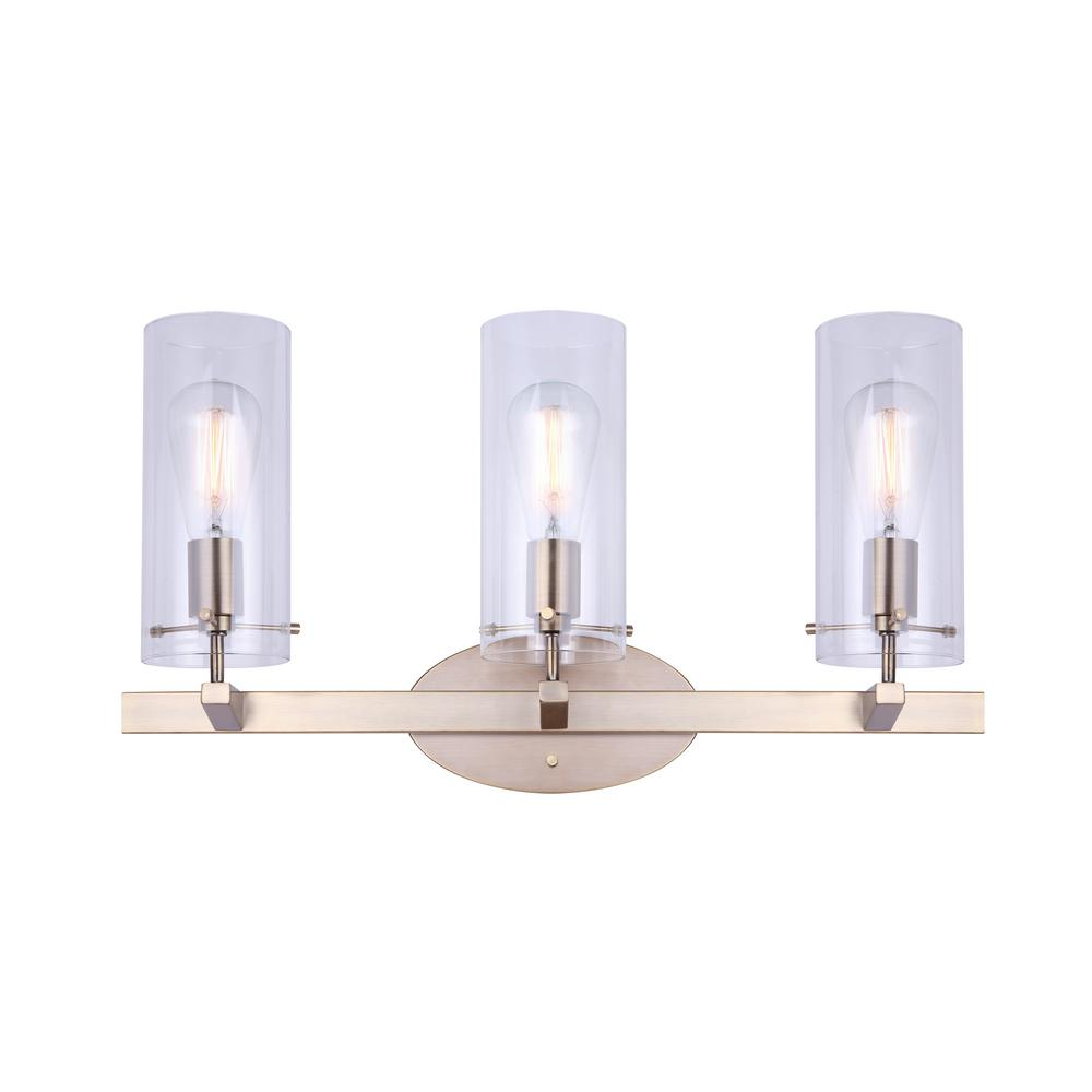 Canarm joni 24 in 3 light gold vanity light with clear glass shades