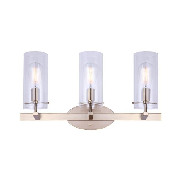 Joni 24 in. 3-Light Gold Vanity Light with Clear Glass Shades