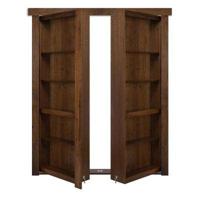 72 in. x 80 in. Flush Mount Assembled Walnut Medium Brown Stained Universal Solid Core Interior French Bookcase Door