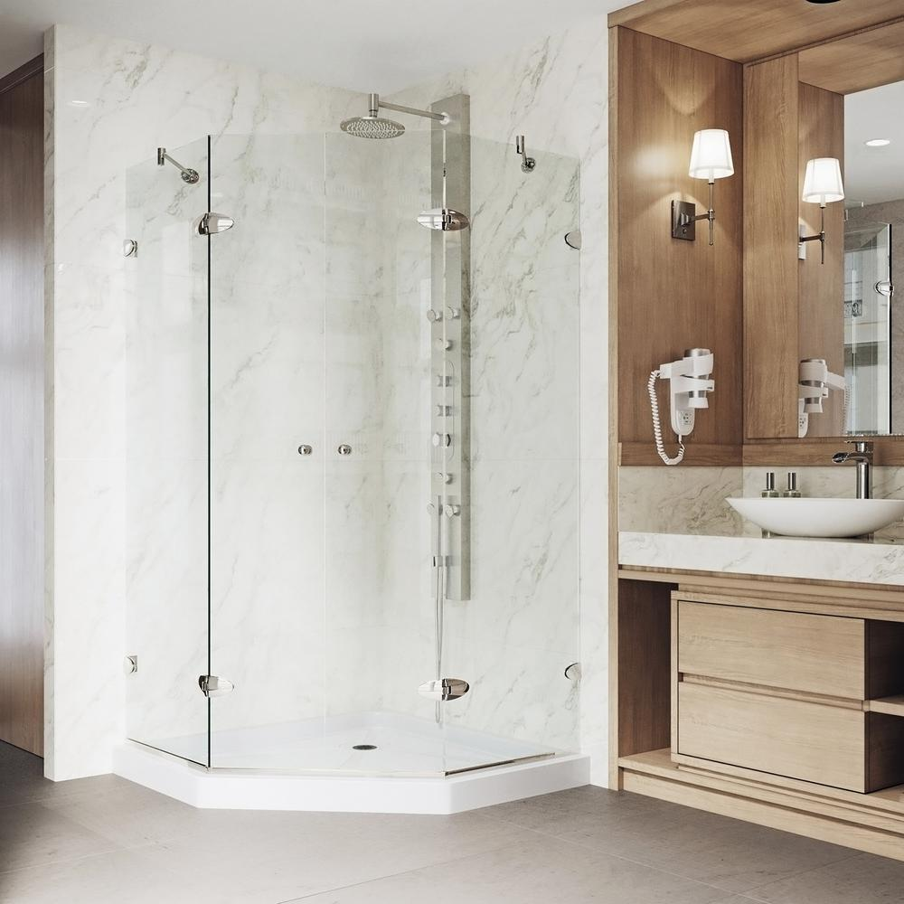 VIGO Gemini 42.125 in. x 76.75 in. Neo-Angle Shower Enclosure in Brushed Nickel with Clear Glass and Low-Profile Base