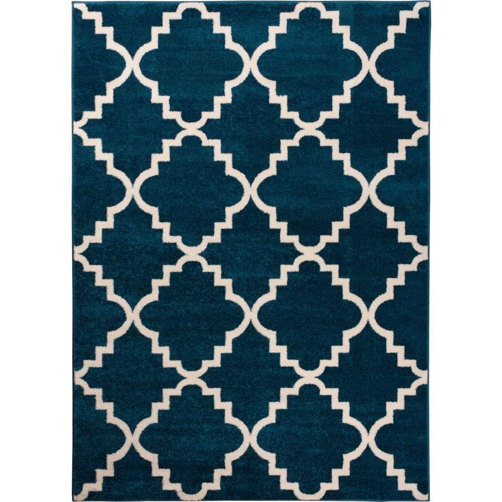 Well Woven Sydney Lulu S Lattice Trellis Navy Blue 2 Ft X 4 Modern