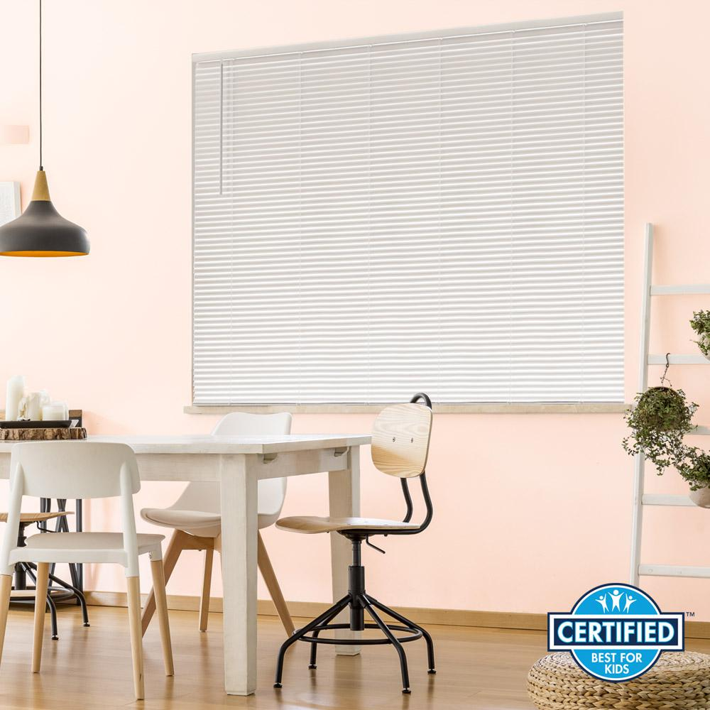 White Cordless 1 in. Room Darkening Vinyl Blind 38 in. W