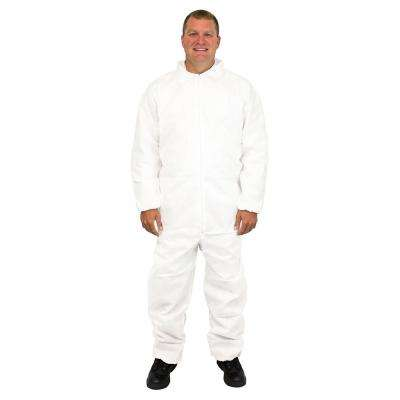 Disposable Coverall Large White Triple Layer SMS Polypropylene (25-Pack)
