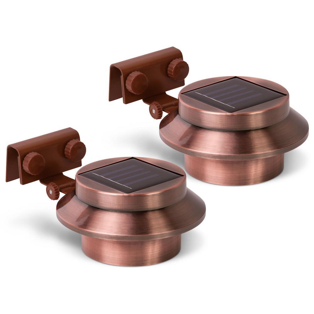 Solar 1.5-Watt Copper Round Integrated LED Flood Light (2-Pack)