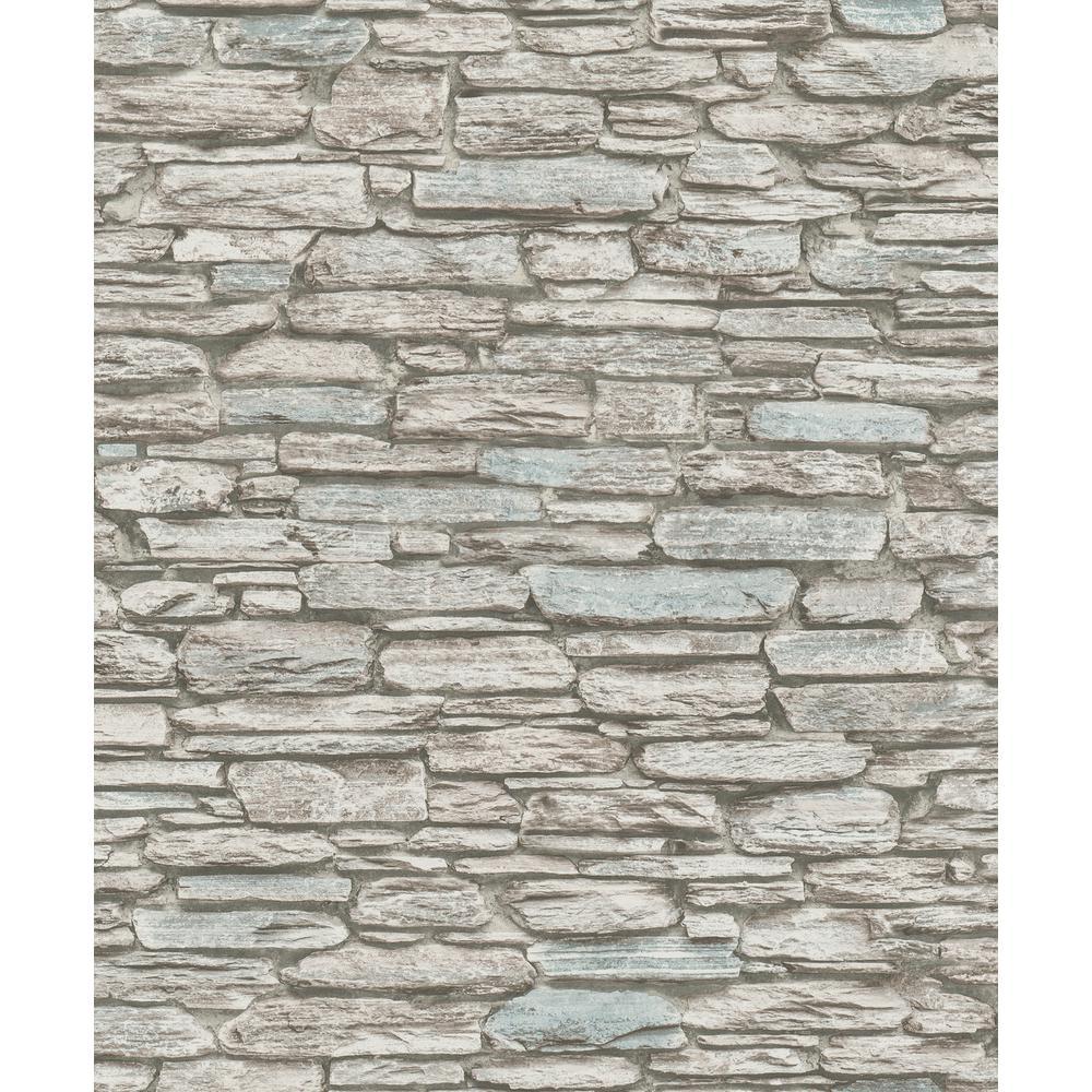 8 in. x 10 in. Kamen Brown Stone Wallpaper Sample