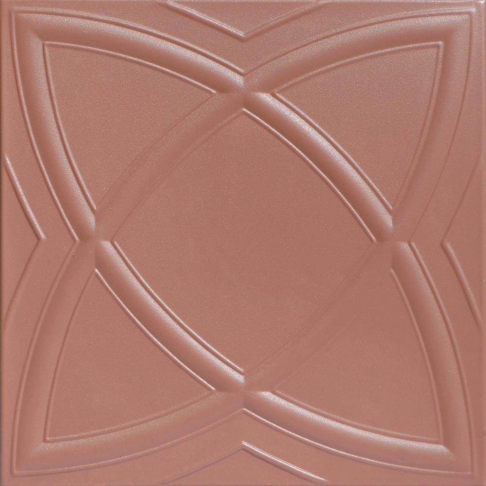 Elliptic Illusion 1.6 ft. x 1.6 ft. Foam Glue-up Ceiling Tile in Tea Room
