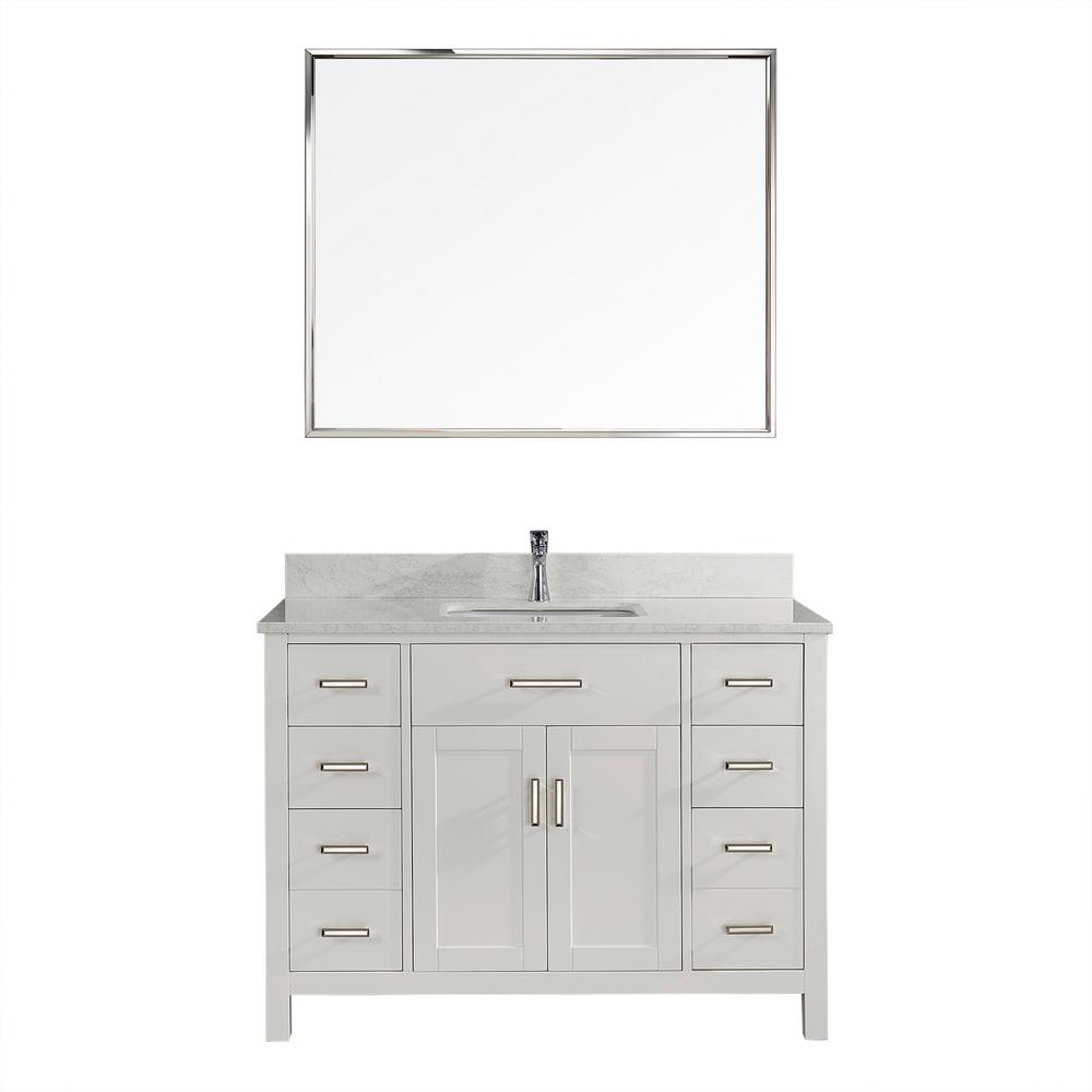Studio Bathe Kalize II 48 in. W x 22 in. D Vanity in White with Thin Engineered Vanity Top in White with White Basin and Mirror