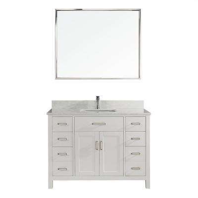 Kalize II 48 in. W x 22 in. D Vanity in White with Thin Engineered Vanity Top in White with White Basin and Mirror