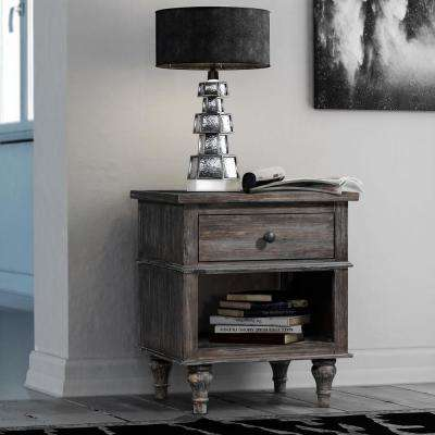Valles Distressed Charcoal Nightstand