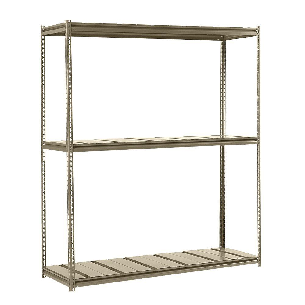 Edsal 84 in. H x 72 in. W x 36 in. D 3-Shelf Heavy Load Steel Shelving Unit in Tan