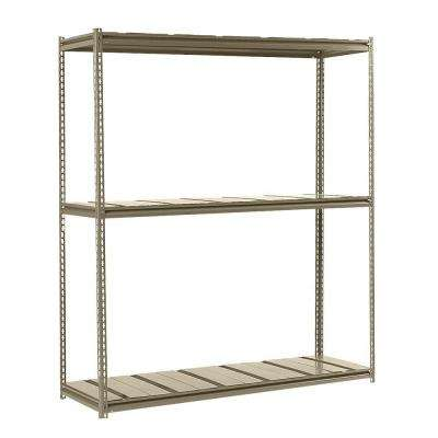 84 in. H x 72 in. W x 36 in. D 3-Shelf Heavy Load Steel Shelving Unit in Tan