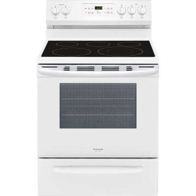 30 in. 5.4 cu. ft. Single Oven Electric Range with Self-Cleaning Convection Oven in White
