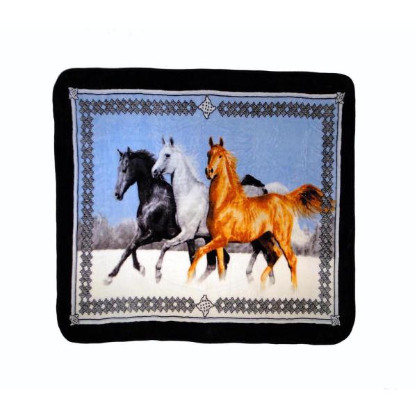 Running Multicolored Horse Throw Blanket