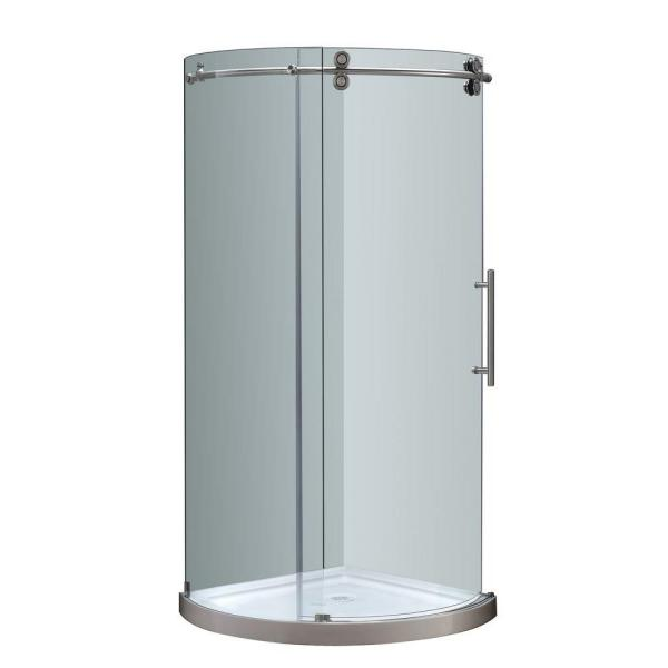 Orbitus 40 in. x 77-1/2 in. Frameless Round Shower Right Opening Enclosure in Stainless Steel with Base