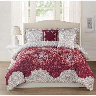 Studio 17 Ravenna Burgundy/Light Mocha 5-Piece Full/Queen Comforter Set