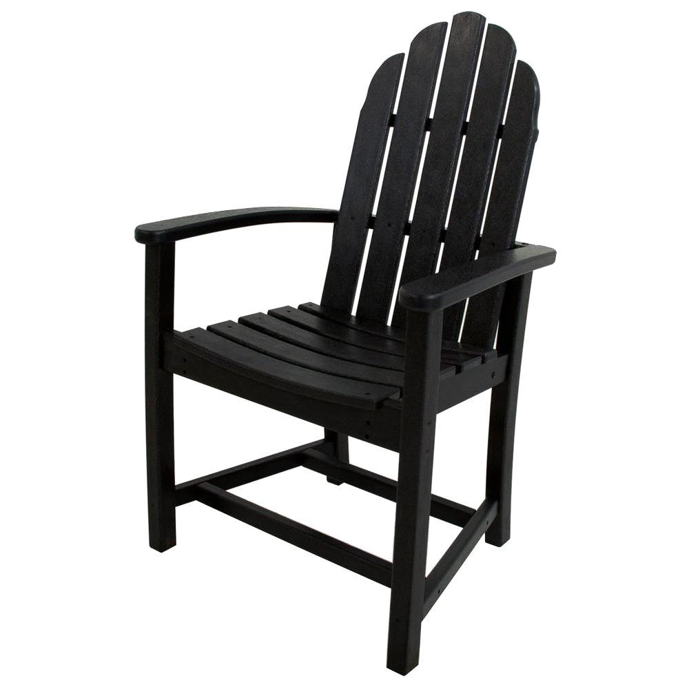 Polywood classic black adirondack all weather plastic for All weather garden chairs