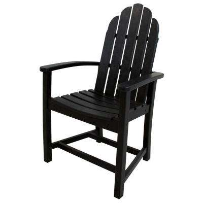 Classic Black Adirondack All-Weather Plastic Outdoor Dining Chair