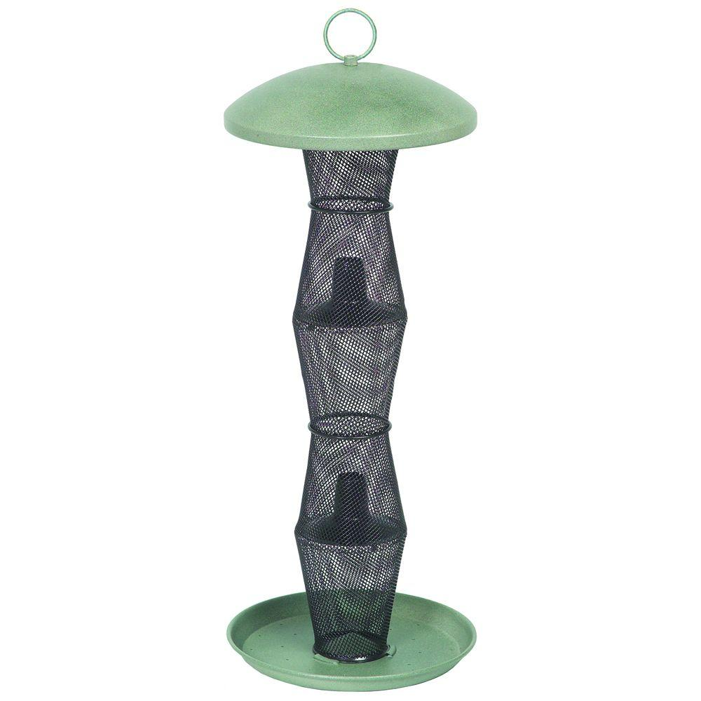 Green and Black Finch Tube Bird Feeder