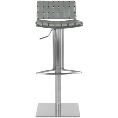 Mitchell 29.5 in. Gray Adjustable Height Stainless Steel Bar Stool