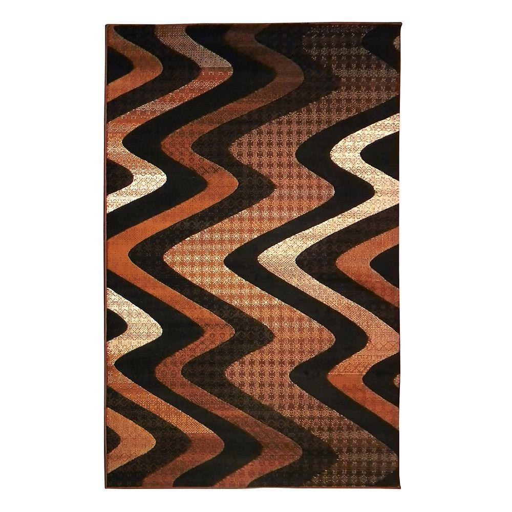 Trendz Tritone Brown Wavy Design 5 ft. x 7 ft. Indoor Area Rug