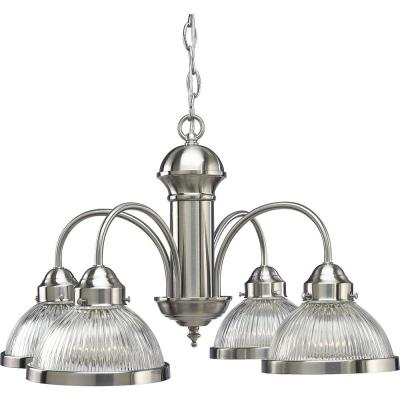 4-Light Brushed Nickel Chandelier with Clear Prismatic Glass Shade