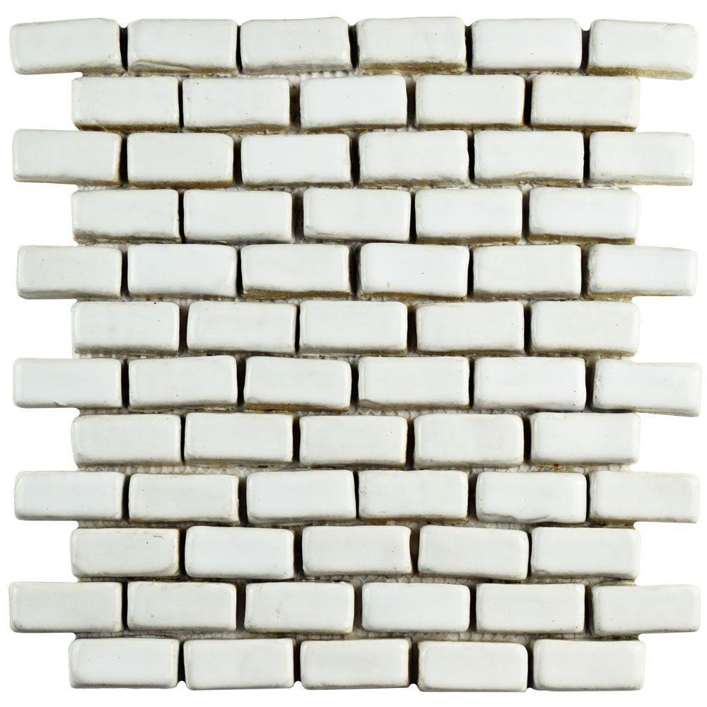 Cobble Mini Subway White 12 in. x 12 in. x 13 mm Ceramic Mosaic Tile