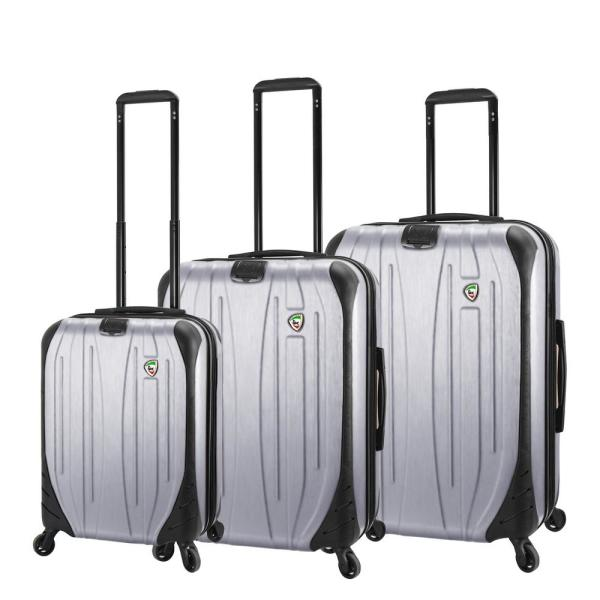 Mia Toro Compaz 3-Piece Silver Hardside Spinner Luggage Set M1524-3PC-SLVNN