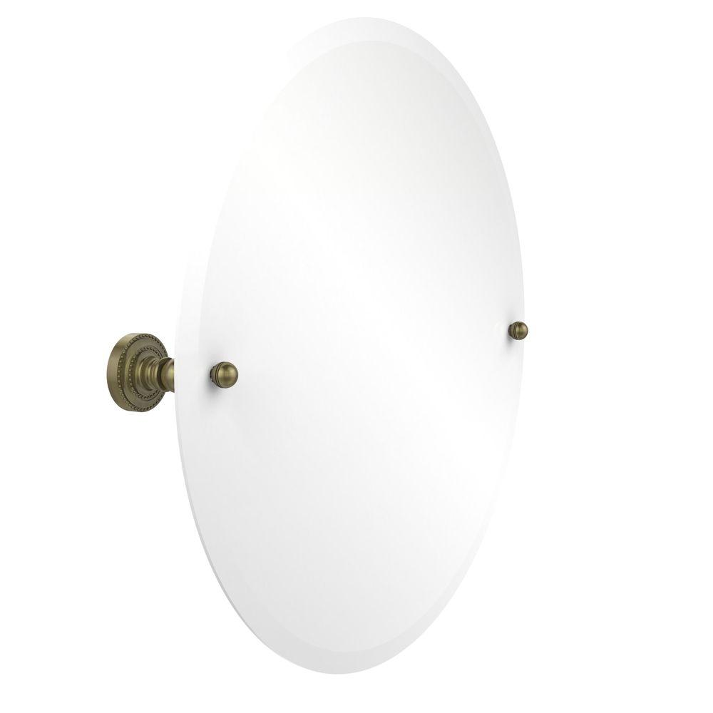 Allied Brass Dottingham Collection 22 in. L x 22 in. W Frameless Round Tilt Mirror with Beveled Edge in Antique Brass