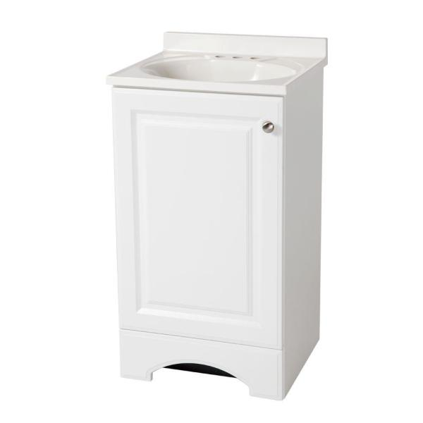 Vanity In White With Cultured Marble