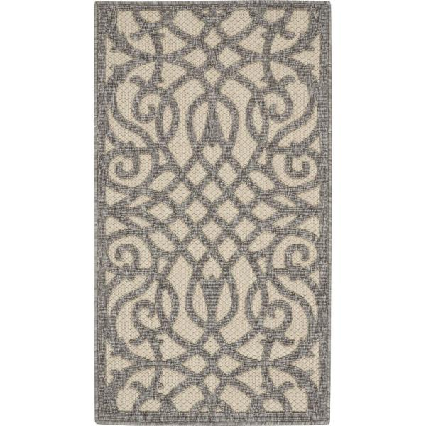 Nourison Palamos Cream Grey 2 Ft X 4 Ft Geometric Contemporary Indoor Outdoor Area Rug 774910 The Home Depot