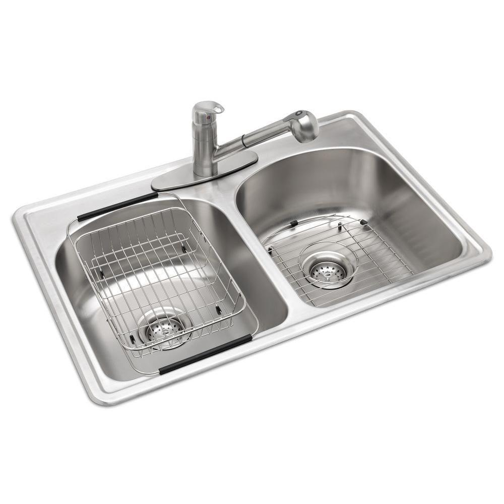 Glacier Bay All In One Drop Stainless Steel 33 3 Hole Double Bowl Kitchen Sink Vt3322h0 The Home Depot