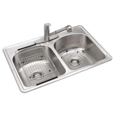 All-in-One Drop-in Stainless Steel 33 in. 3-Hole Double Bowl Kitchen Sink