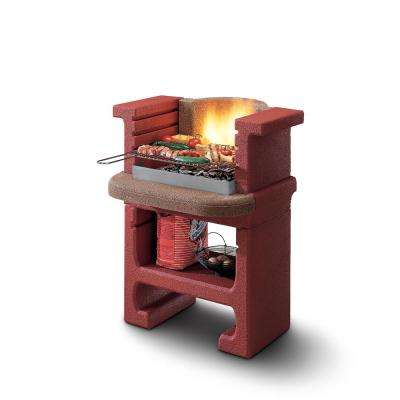 Palazzetti Bajkal Charcoal Outdoor Pedestal Grill in Brick Red