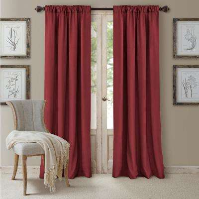 Blackout Cachet 52 in. W x 84 in. L Blackout Window Curtain Panel Brick