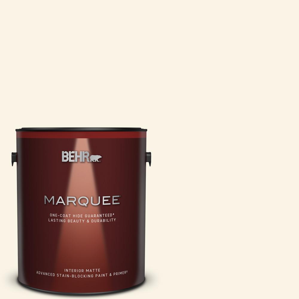 Behr Marquee 1 Gal W D 200 Pot Of Cream Matte Interior Paint Primer 145001 The Home Depot