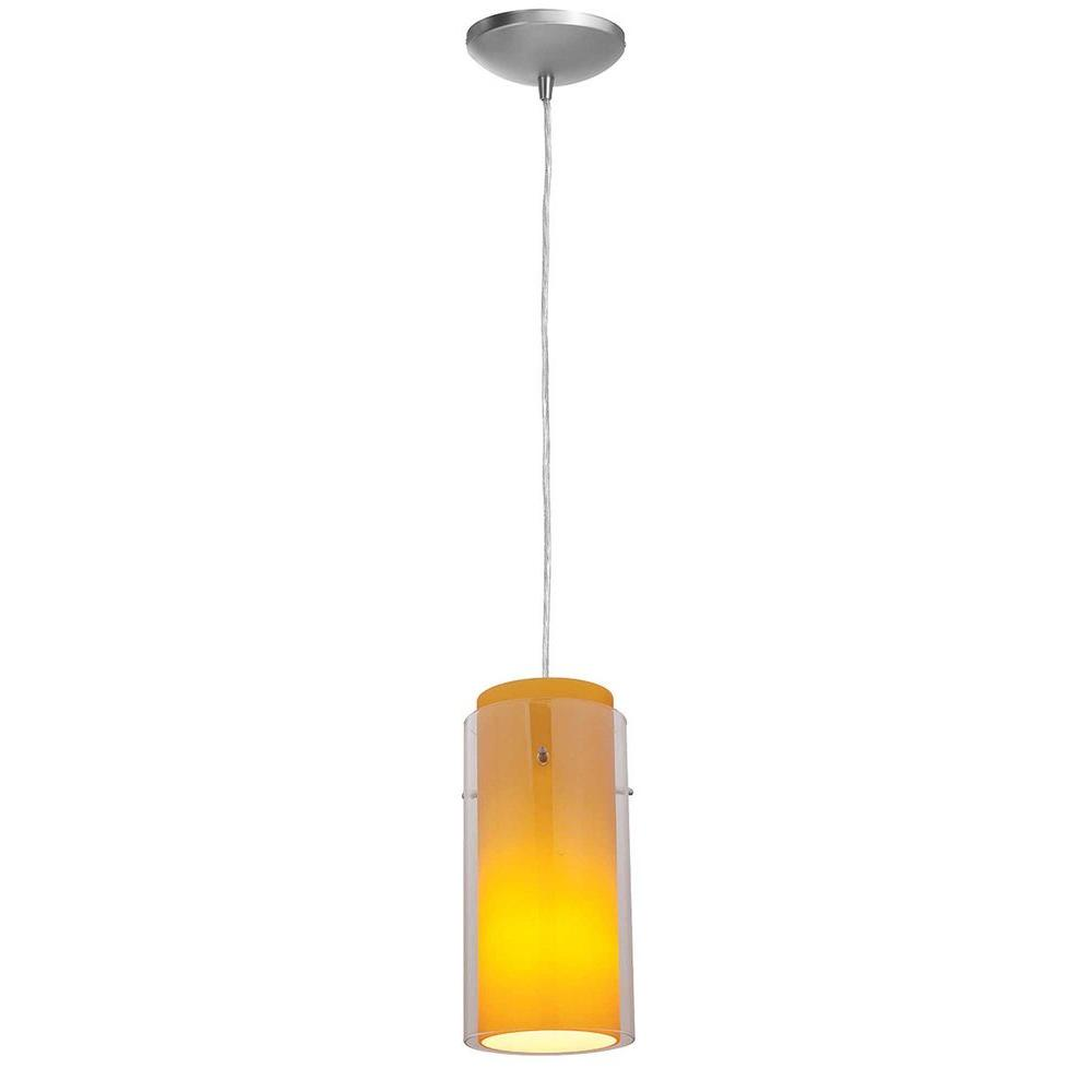 Access Lighting 1-Light Pendant Brushed Steel Finish Clear Glass-DISCONTINUED