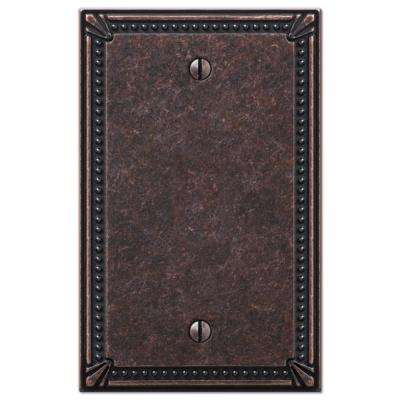 Imperial Bead 1 Gang Blank Metal Wall Plate - Tumbled Aged Bronze