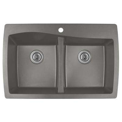 Drop-In Quartz Composite 34 in. 1-Hole 50/50 Double Bowl Kitchen Sink in Concrete