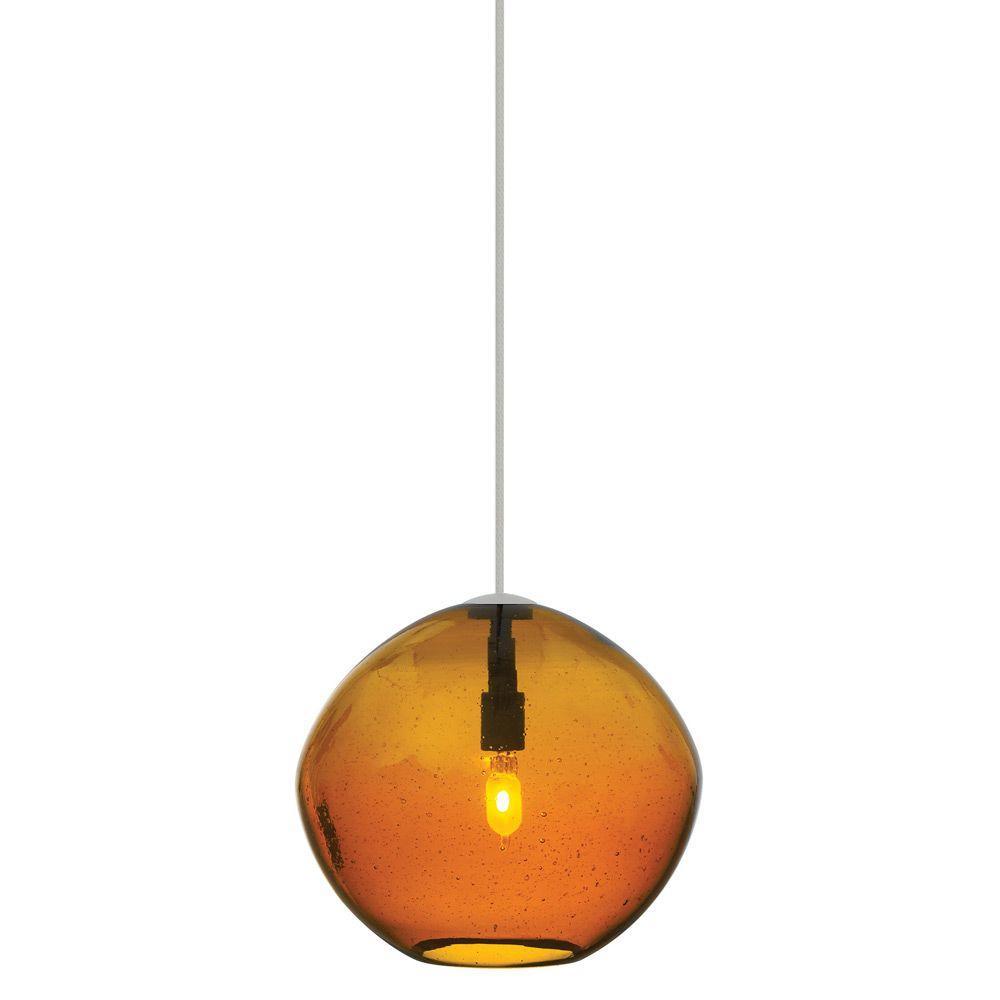 LBL Lighting Mini Isla 1-Light Satin Nickel Amber Xenon